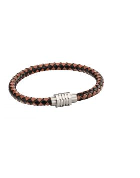Leather woven brown bracelet with hexagon clasp