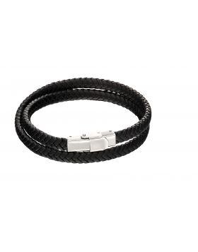 Woven plait double row bracelet