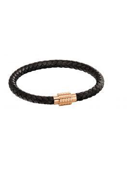 Hexagon ridge clasp rose black leather plait bracelet