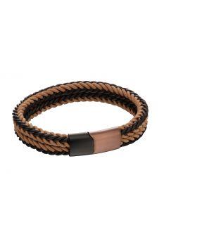 Brown woven dual colour clasp bracelet