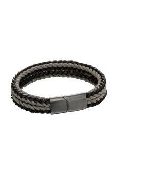 Grey woven dual colour clasp bracelet