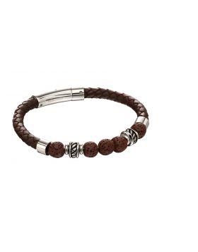 Brown lava bead leather bracelet