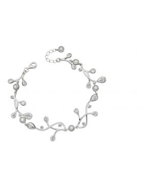 Cubic Zirconia and Pearl Drop Bracelet