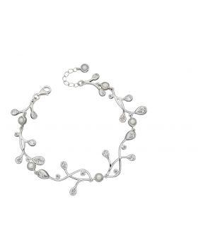 Cubic Zirconia and Pearl Drop Bracelet