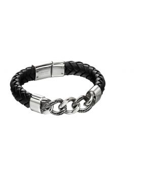Leather and Stainless Steel Chain Bracelet