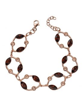 Rose Gold Plated Smoked Topaz Crystal Bracelet
