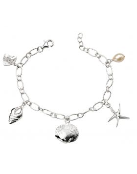 Silver Sealife Charm Bracelet