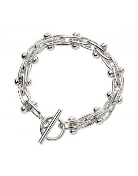 Mexican Style Ball and Bar Silver Bracelet