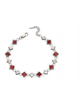 Red Cubic Zirconia Square Bracelet (B5217R)