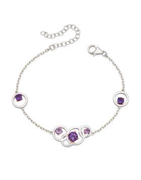 Round Purple Amethyst Bracelet (B5225M)