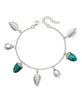 Turquoise Acorn and Silver Leaf Bracelet (B5226T)