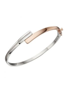 Channel Set Hinged Bangle with Rose Gold (B5248C)