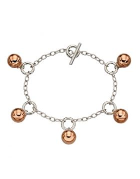 T-Bar Rose Gold Plated Sphere Bracelet (B5254)