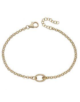 Yellow Gold Plated Single Link Charm Bracelet (B5314)