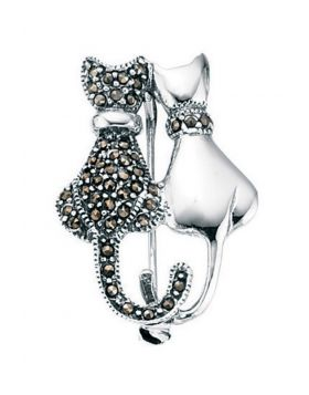 D274 MARC & Plain Double Cat BROOCH