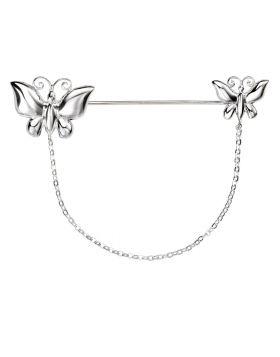 D347 Double Butterfly Chain BROOCH