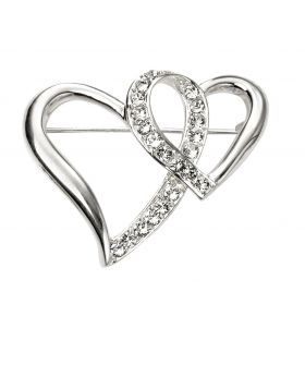 Cubic Zirconia Heart Brooch