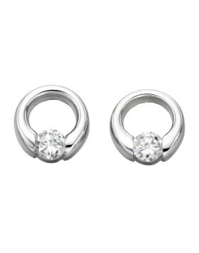 E2920C CLEAR CZ OPEN Disc Stud EARNG