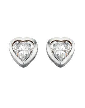 E2921C CLEAR CZ Heart Stud EARRING