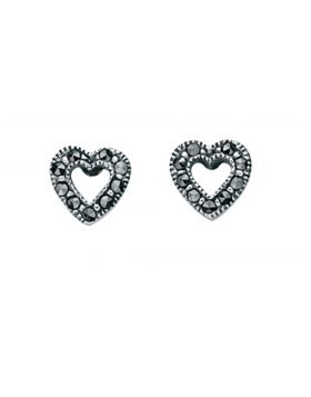 E3211 MARCASITE Open Heart Stud ERNG