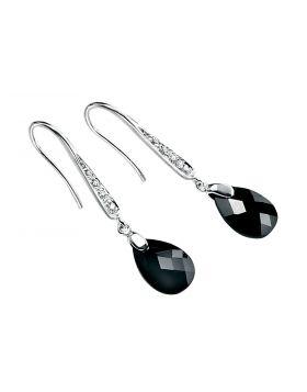 Black Cubic Zirconia Teardrop and Pave Hook Earrings