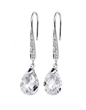 Cubic Zirconia Teardrop and Pave Hook Earrings