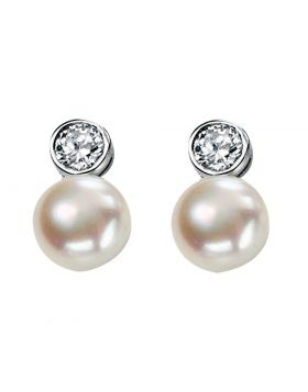 Fresh Water Pearl and Cubic Zirconia Earrings