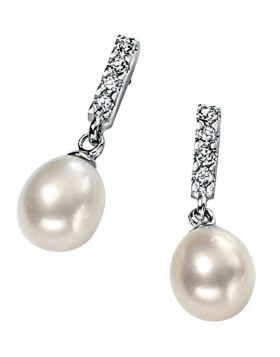 Freshwater Pearl and Cubic Zirconia Earrings