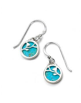 Turquoise Disc Flower Pattern Earrings