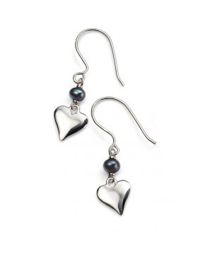Black Freshwater Pearl and Silver Heart Earrings