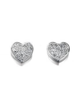 E4015C CLR CZ Pave Heart Stud EARING