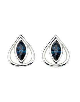 Open Teardrop Stud Earrings with Montana Blue Crystals E4034L