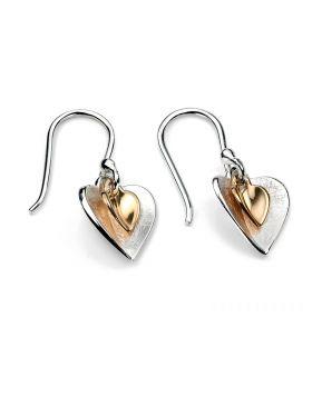 E4466 GOLD PLTD Double Heart EARRING