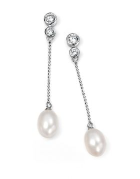 White Freshwater Pearl and Cubic Zirconia Drop Earrings