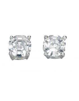 E4598C CLR CZ Faceted Stud EARRING
