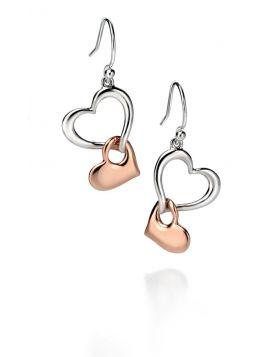 Mix Plate Heart Link Earrings