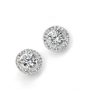 Round Cubic Zirconia with Pavé Disc Stud Earrings