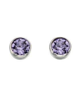 E4926M Tanzanite Crystal Round Stud Earrings