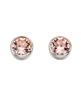 E4926P Vintage Rose Crystal Round Stud Earrings