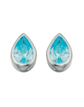 E4927A Aquamarine Crystal Teardrop Stud Earrings