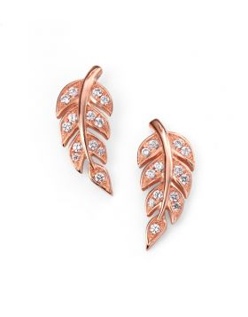 Rose Gold and Cubic Zirconia Leaf Stud Earrings