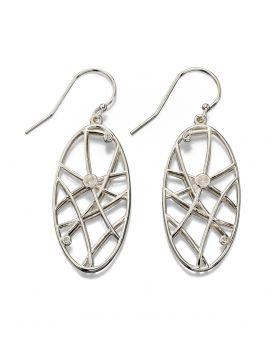 Silver Air Open Work Stone Set Earrings