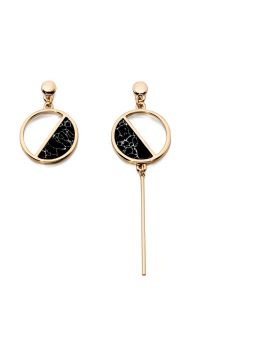 Imitation Gold and Black Inlay Earrings