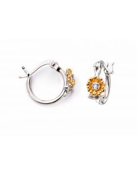 Diamond Floral Gold Plated Hoop Earrings