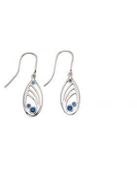 Cutout Teardrop Earrings with Blue CrystalsE5517L