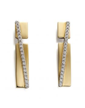 Yellow gold plated pave band drop earrings with clear CZ