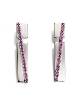 Pave band drop earrings with pink CZ