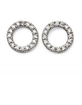Open disc pave earrings
