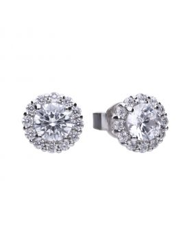 Solitaire 1.36 ct pave set stud earrings with Diamonfire cubic zirconia