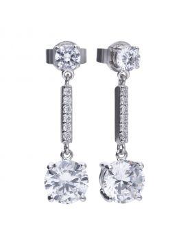 Pendulum drop 3.62 ct claw set earrings with Diamonfire cubic zirconia